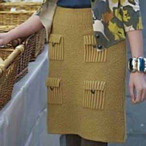 Anthropologie Moth Mustard Pocket Skirt